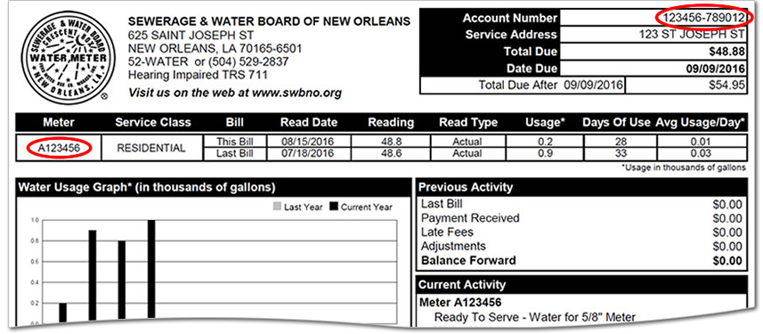 You can find your Account Number and Meter Number on your bill as shown here.